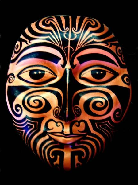 Sculpture - Maori Mask by Michelle Dallocchio