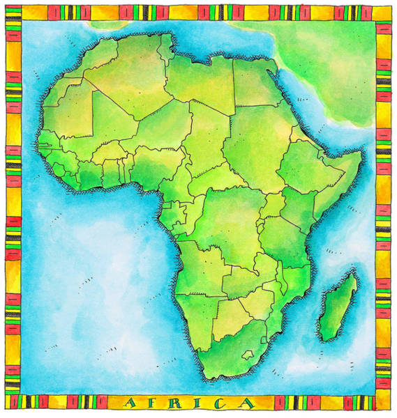 Boundary Digital Art - Map Of Africa by Jennifer Thermes