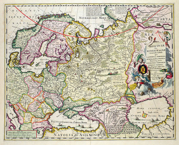 Mapping Drawing - Map Of Asia Minor by Nicolaes Visscher