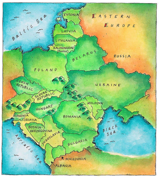 Boundary Digital Art - Map Of Eastern Europe by Jennifer Thermes