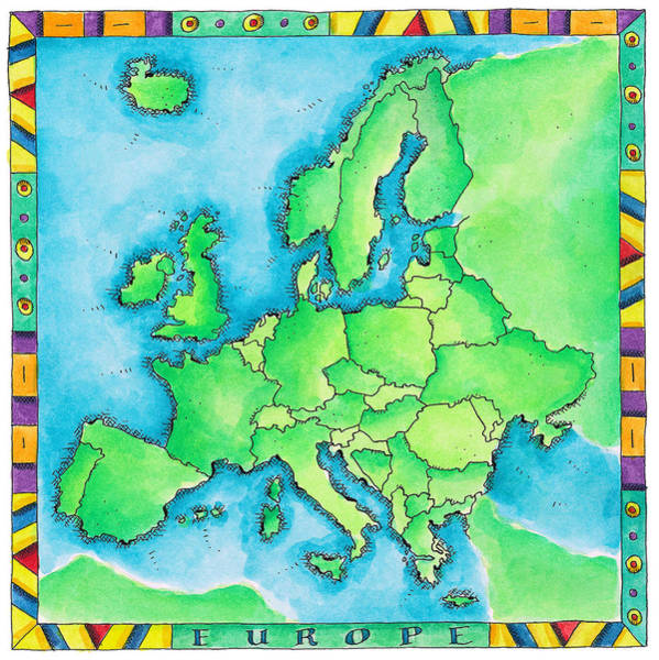 Boundary Digital Art - Map Of Europe by Jennifer Thermes