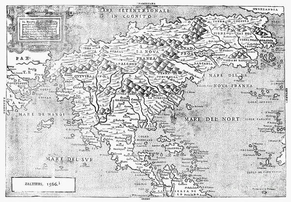 1566 Photograph - Map Of New France, 1566 by Granger