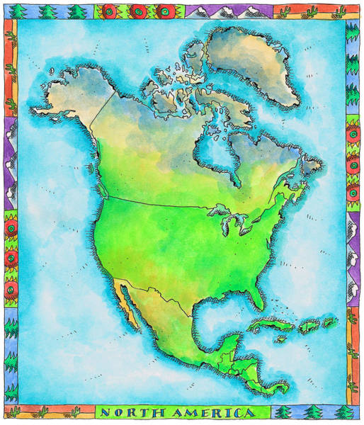 Boundary Digital Art - Map Of North America by Jennifer Thermes
