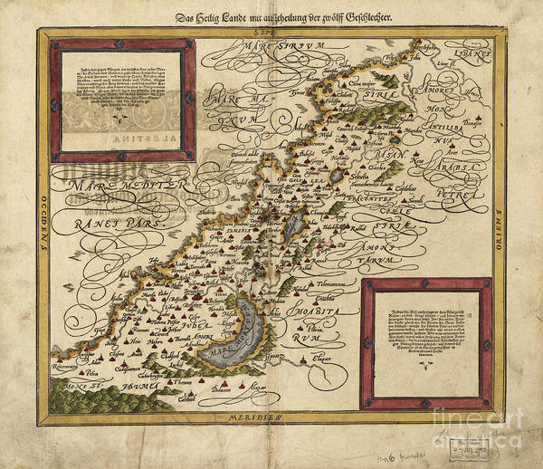 Photograph - Map Of Palestine, 1588 by Photo Researchers