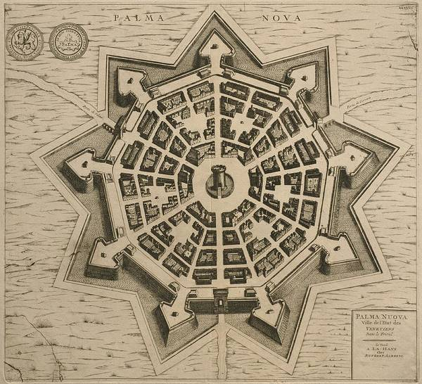 Point Of View Wall Art - Drawing - Map Of Palmanova by French School