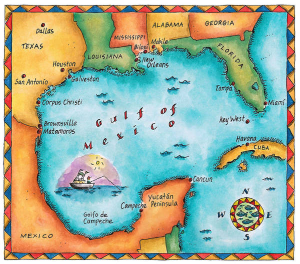 Boundary Digital Art - Map Of The Gulf Of Mexico by Jennifer Thermes