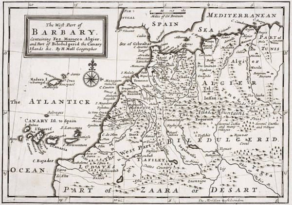 Mapping Drawing - Map Of The West Part Of Barbary by Hermann Moll