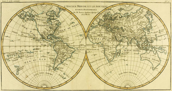 Mapping Drawing - Map Of The World In Two Hemispheres by Guillaume Raynal