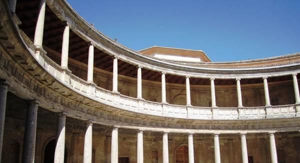 Photograph - Marble Columns In Circular Court Yard Granada Spain by John Shiron
