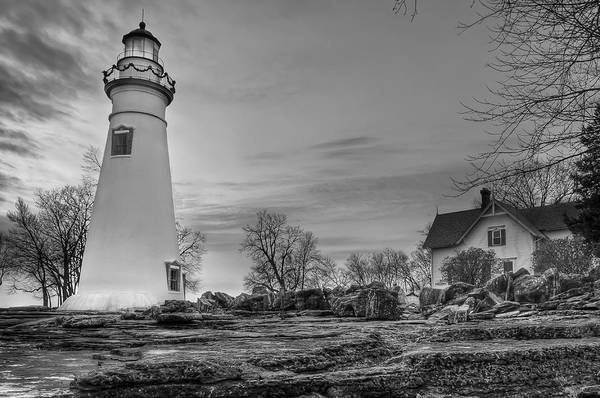 Photograph - Marblehead Lighthouse And Lightkeeper House In Black And White by At Lands End Photography