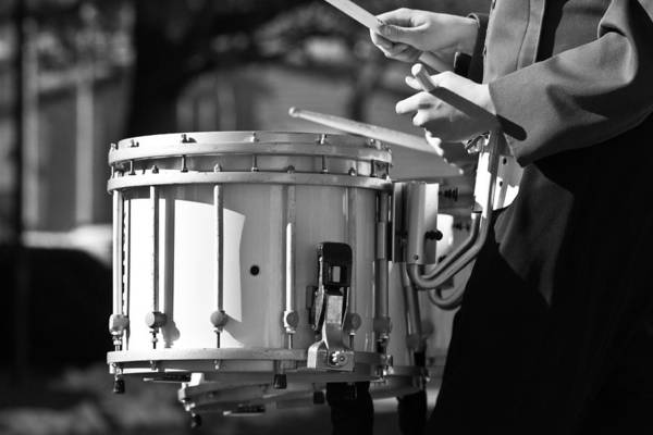 Photograph - Marching Band Drummer Boy Bw by James BO Insogna
