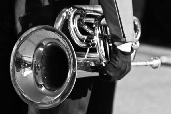 Photograph - Marching Band Horn Bw by James BO Insogna