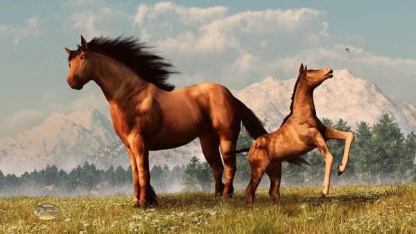 Digital Art - Mare And Foal by Daniel Eskridge