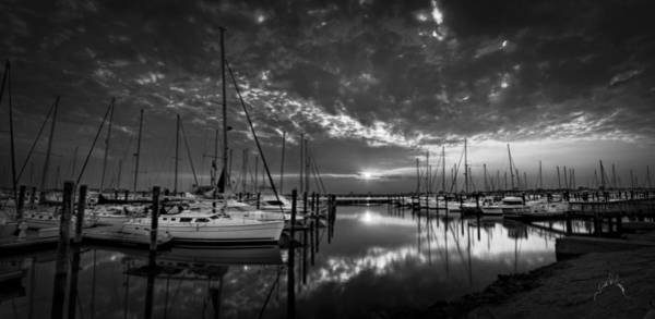 Photograph - Marina At Fort Monroe Bw by Williams-Cairns Photography LLC