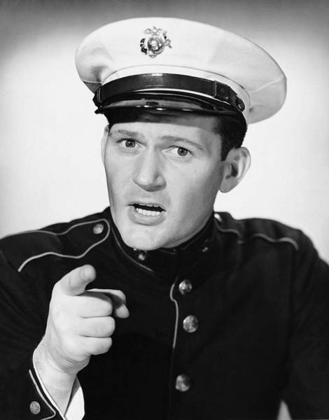 Usa Navy Photograph - Marine Pointing His Finger by George Marks