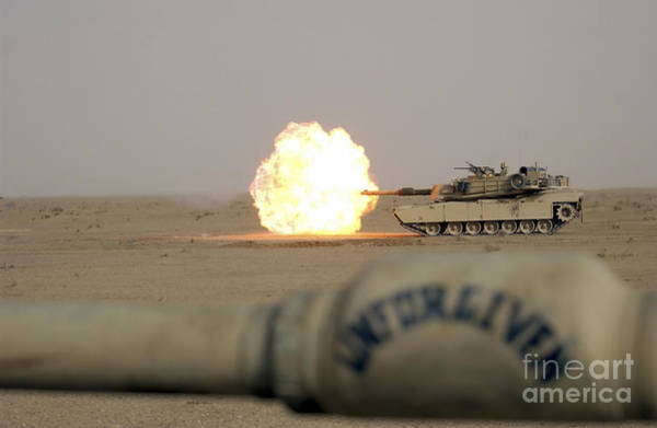 Gunfire Photograph - Marines Fire Their M1a1 Abrams Tank by Stocktrek Images