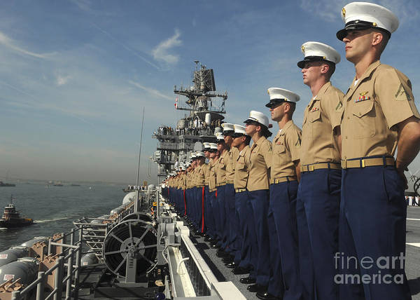 Amphibious Assault Ship Wall Art - Photograph - Marines Man The Rails Aboard by Stocktrek Images