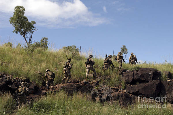 Grenade Launcher Wall Art - Photograph - Marines Patrol The Australian Outback by Stocktrek Images