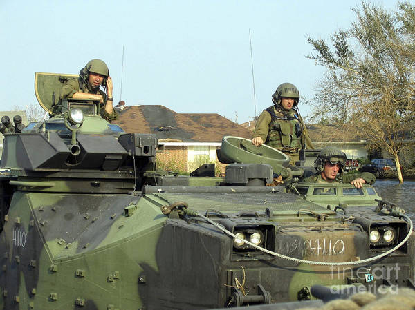 Aav Photograph - Marines Patrol The Streets On A Search by Stocktrek Images