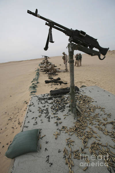 Mounted Shooting Photograph - Marines Prepare To Shoot An M240g by Stocktrek Images