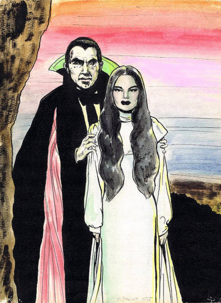 Nostalgia Drawing - Mark Of The Vampire by Mel Thompson