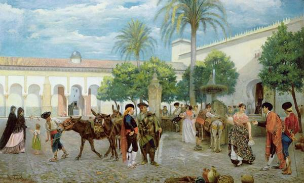 Medina Wall Art - Painting - Market Day In Spain by Filippo Baratti