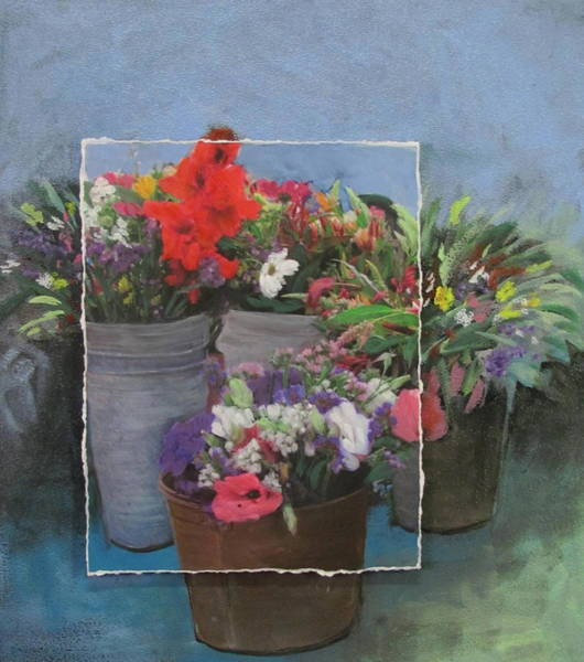 Mixed Media - Market Flowers And Pots by Anita Burgermeister