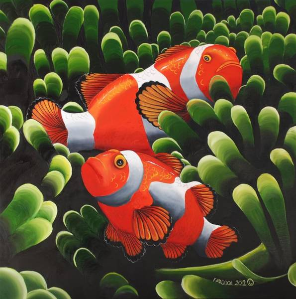 Clownfish Painting - Marlin And Nemo by Rehana Farooqi