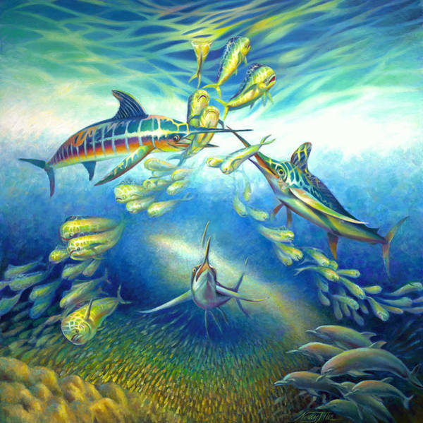 Wall Art - Painting - Marlin Frenzy by Nancy Tilles