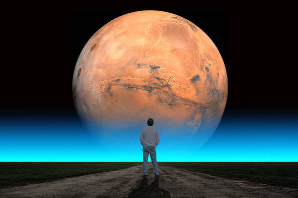 Photograph - Mars Man Blue by Larry Landolfi