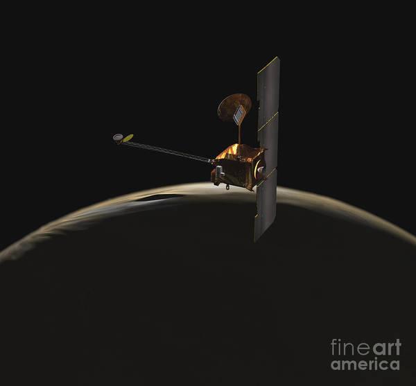Digital Art - Mars Odyssey Spacecraft Over Martian by Stocktrek Images