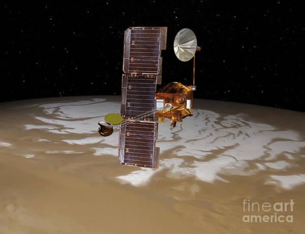 Digital Art - Mars Odyssey Spacecraft Passes by Stocktrek Images