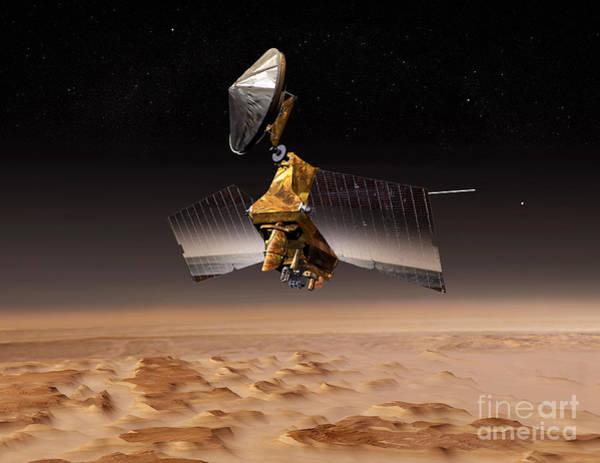 Digital Art - Mars Reconnaissance Orbiter Passes by Stocktrek Images