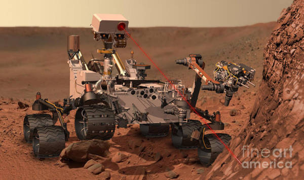 Photograph - Mars Rover Firing Laser by NASA and Science Source