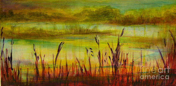 Bullrush Painting - Marsh View by Sandra Taylor-Hedges