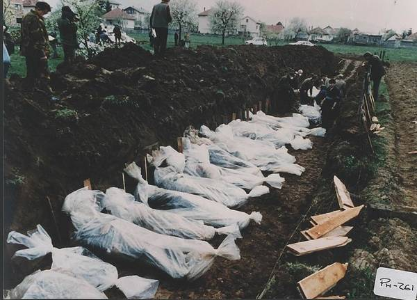 Dod Wall Art - Photograph - Mass Burial Of Bosniaks Bosnian Muslim by Everett