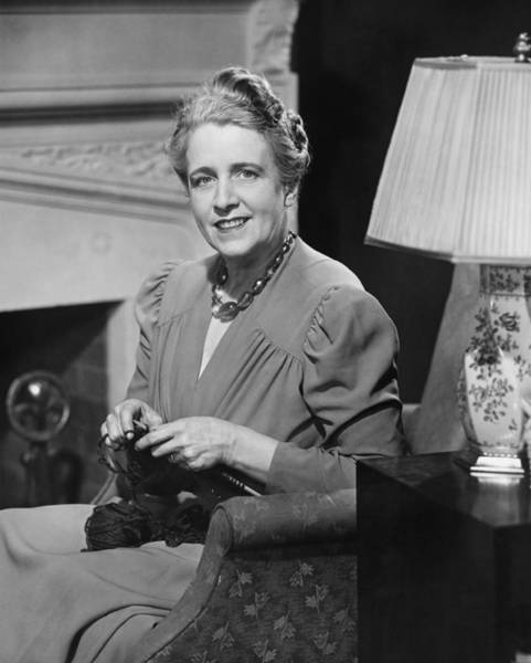 Armchair Photograph - Mature Woman Knitting In Living Room, (b&w), Portrait by George Marks