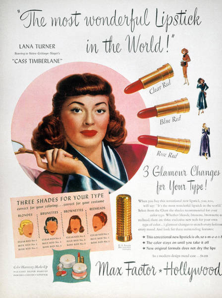 Girly Photograph - Max Factor Lipstick Ad by Granger