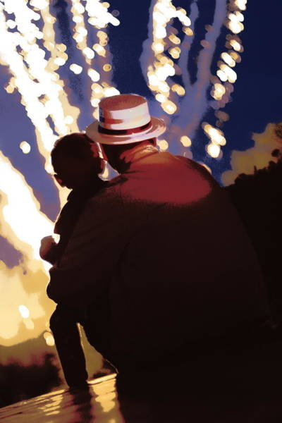Me And Papa - 4th Of July Art Print