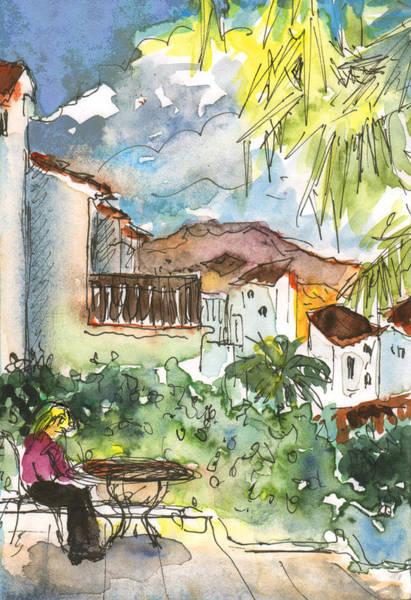 Benidorm Wall Art - Painting - Me On My Terrasse In Albir by Miki De Goodaboom