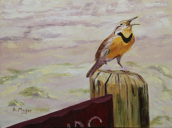 Meadowlark Painting - Meadowlark by Alan Mager