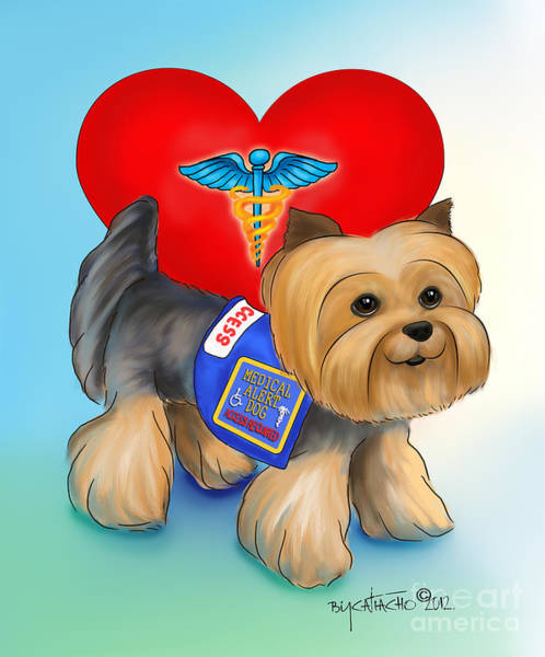 Mixed Media - Medical Alert Yorkie by Catia Lee