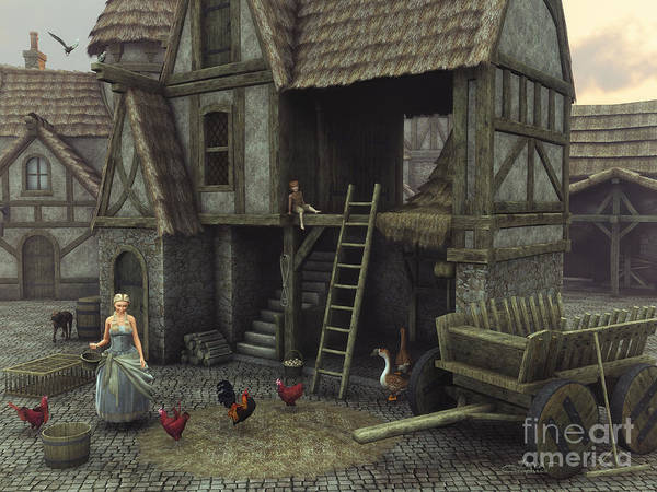 Digital Art - Medieval Idyll by Jutta Maria Pusl
