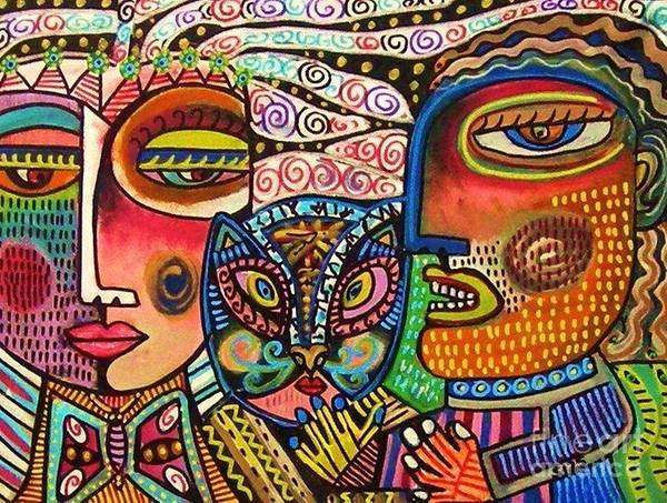 Painting - Medusa And The Snake Charmer by Sandra Silberzweig