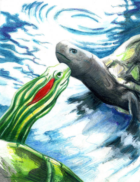 Painting - Meet Other Turtles Face To Face by Rene Capone
