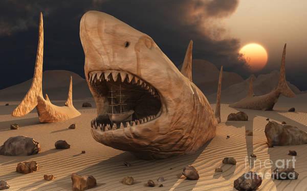 Schooner Digital Art - Megalodon Desert by Mark Stevenson