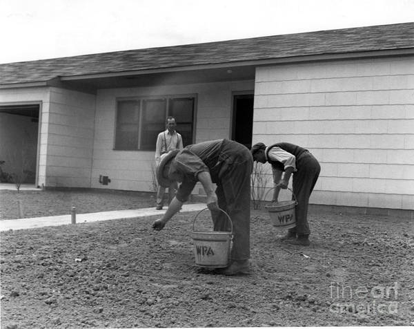 Works Progress Administration Photograph - Men Seeding A Lawn by Photo Researchers