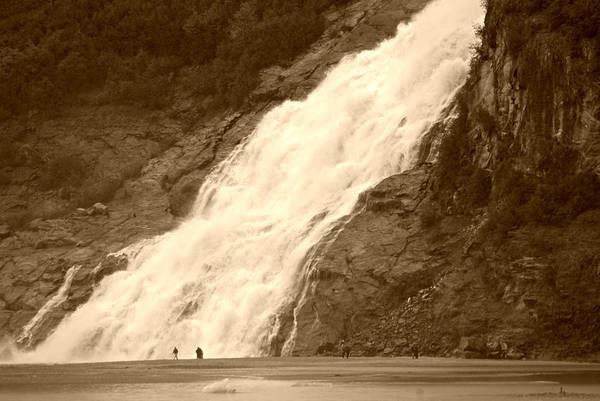 Photograph - Mendenhall Glacier Nugget Falls Sepia by Marilyn Wilson