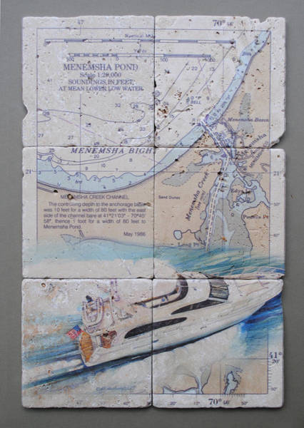 Wall Art - Mixed Media - Menemsha Bight 6 Tile Set by P Anthony Visco