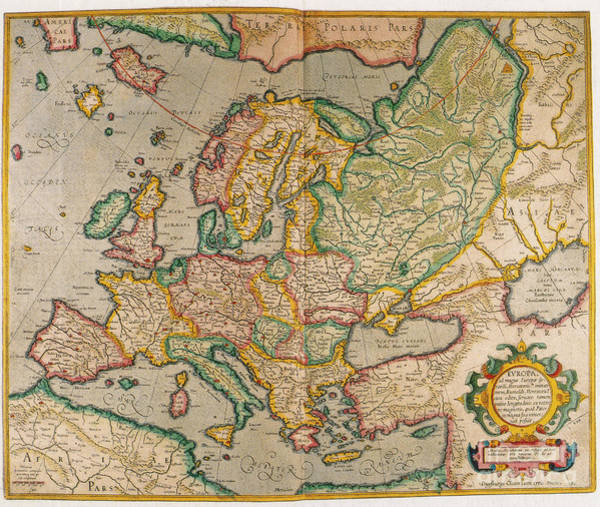 Photograph - Mercators Map Of Europe by Photo Researchers